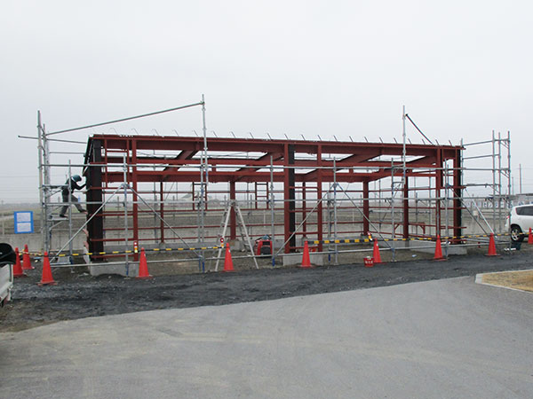 倉庫建築の進捗状況
